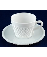 Westmoreland American Hobnail Milk Glass Cup & Beaded Edge Saucer Set - $7.00