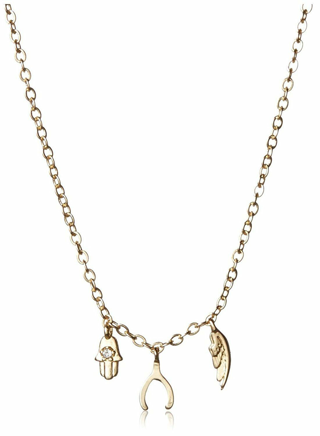 NEW Jules Smith Gold Plated Hamsa Angel Wing Micro Triple Charms Necklace NWT