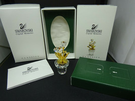 Swarovski Crystal Memories Flower Pot Figurine 208885 Retired NIB 18KGol... - $69.95