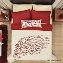 Flowers Cherry Blossom Blanket Comforter Reversible Gift Girls Red FULL/QUEEN - $128.70
