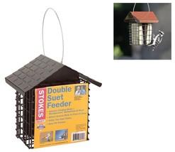 Hanging Bird Feeder Metal Roof Grid Two Suet Ca... - $29.99