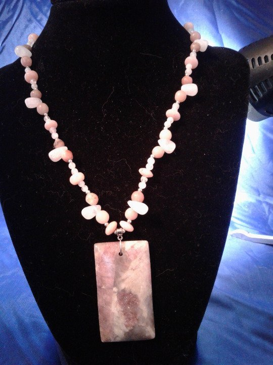 Primary image for Handmade Pink Agate, Moonstone, & Rhodochrosite Beaded Necklace w Pendant Z296