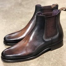 Handmade Brown Patina Chelsea Boots for Mens Premium Quality Custom made boots - $189.99 - $219.99