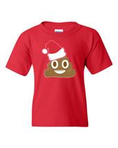 Poop Emoji Wearing a Christmas Hat XMas Funny YOUTH Tee Shirt 1524 - $9.95