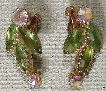 GORGEOUS VINTAGE UNSIGNED AURORA BOREALIS EARRINGS