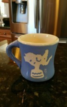 VINTAGE 1940s Baby Child MUG Cup CERAMIC BLUE w/ WHITE Toy Soldier ELEPH... - $24.85