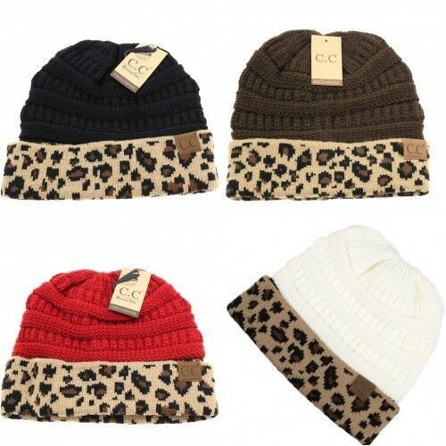 Primary image for CC Beanie Ponytail Beanie Tail Messy High Bun Hat Knit Cap Leopard Pattern Cuff