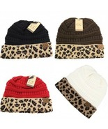 CC Beanie Ponytail Beanie Tail Messy High Bun Hat Knit Cap Leopard Patte... - $15.99