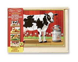 Melissa & Doug Wooden Jigsaw Puzzles in a Box - Farm - $11.99