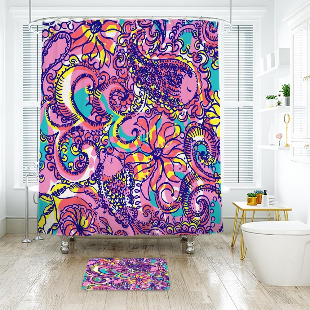 Flower Lilly Pattern Shower Curtain Waterproof & Bath Mat For Bathroom