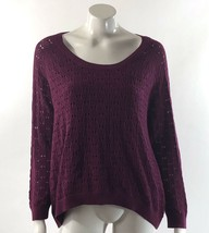 Sonoma Sweater XL Purple Open Knit Hi Lo Style Built in Cami Pullover Wo... - $10.29