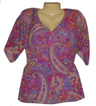 Sheer Blouse Top Chaps Purple Turquoise Floral Paisley Size Petite Small New - $22.50