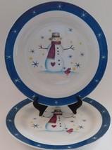 2 Snowman Blue Rim Star Snowflake Christmas Holiday Stoneware Dinner Pl... - $29.69