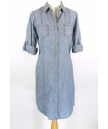 COLDWATER CREEK Size 6 Blue Chambray Denim Shir... - $26.99
