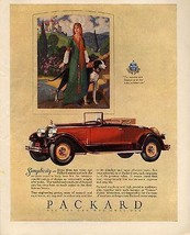 1927 Packard Red Convertible Antique Automobile AD Medieval Beauty Dog - $14.99