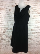 SANDRA DARREN Womens Sz 6   Black Sleeveless Knee Length Dress V-Neck Le... - $17.95