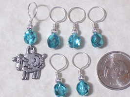 czech crystal beads,sheep knitting stitch markers,silver pewter charm,no... - $7.57