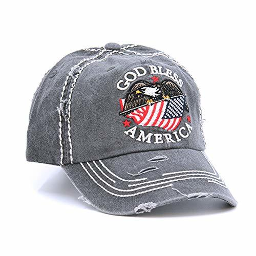 Distressed God Bless America Flag Eagle Cap Baseball Hat (Gray)