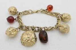 VTG RARE CLAUDETTE Signed Gold Tone Nugget Amber Charm Bracelet - $99.00