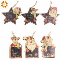 Cute Christmas Wooden Pendants Ornaments Diy Wood Crafts Blackboard Gift... - $3.78