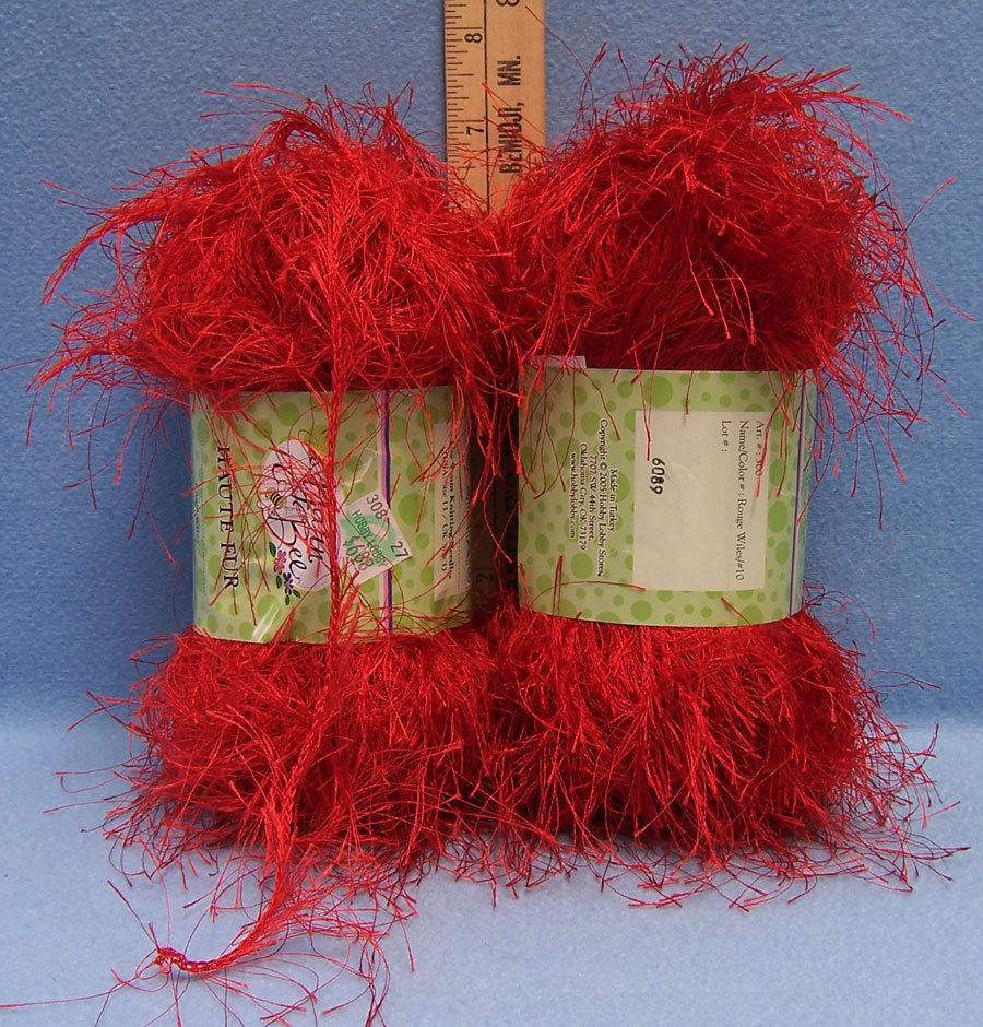 Set of 2 NEW Yarn Bee Haute Fur Rouge Wiles Red  Yarn Craft  Knitting