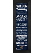 """Personalized Denver Nuggets """"Family Cheer"""" 24 x 8 Framed Print - $39.95"""