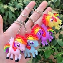 Cartoon Stereo Color Pony Bag Car Key Pendant Epoxy soft gel Pegasus key... - $2.99