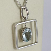 Necklace White Gold 750 - 18K Aquamarine Cut Oval CT 1.80, Chain Rolo ' image 2