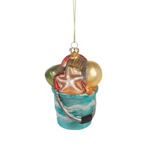 Beach Pail Filled with Shells Christmas Holiday Ornament Glass 4 Inches - $42.92