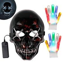Kithouse LED Purge Mask Light Up Mask White Halloween Mask + LED Gloves for - £20.35 GBP