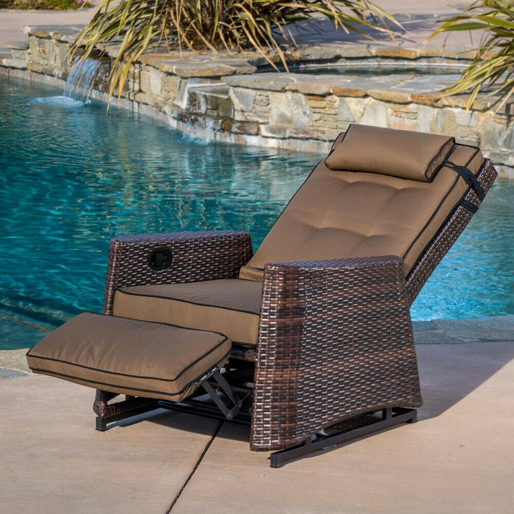 Noble House Lounge Chair 250 lb. Capacity Reclining Weather Resistant Brown