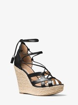 MICHAEL MICHAEL KORS Mirabel Leather Lace-Up Wedge Sandals Black Mult Sizes - $99.99