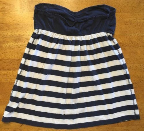 Abercrombie New York Blue & White Striped Girls Tube Top Shirt - Size: XL image 10