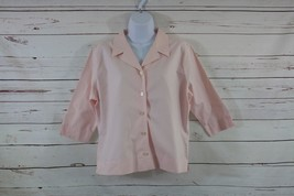 Eddie Bauer Large P Wrinkle Resistant Button Pink Blouse 3/4 Sleeve  Women - $10.39