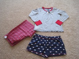 BNWT Tommy Hilfiger women's 3pc cotton PJ Set, XL, pants/shorts/long sleeve, $78 - $32.41