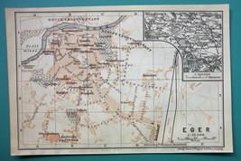 1905 MAP Baedeker - CZECH REPUBLIC Cheb Eger City Plan - $6.71