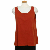EILEEN FISHER Cayenne Red Linen Jersey Knit Sleeveless Tunic Tank Top PS - $79.99