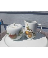 Royal Worcester Evesham Gold rimmed sugar bowl with lid and creamer - $24.70