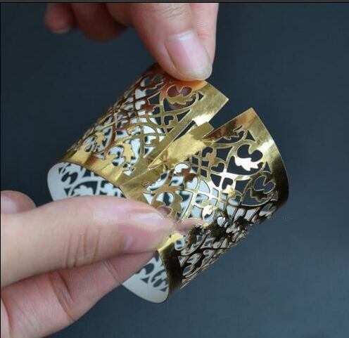 50pieces Laser cut Metallic Paper Gold Color Wedding Decoration Napkin Ring
