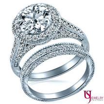 2 Carat E-VS1 Round Cut Raised Halo Diamond Engagement Bridal Set 14K White Gold - $17,523.00