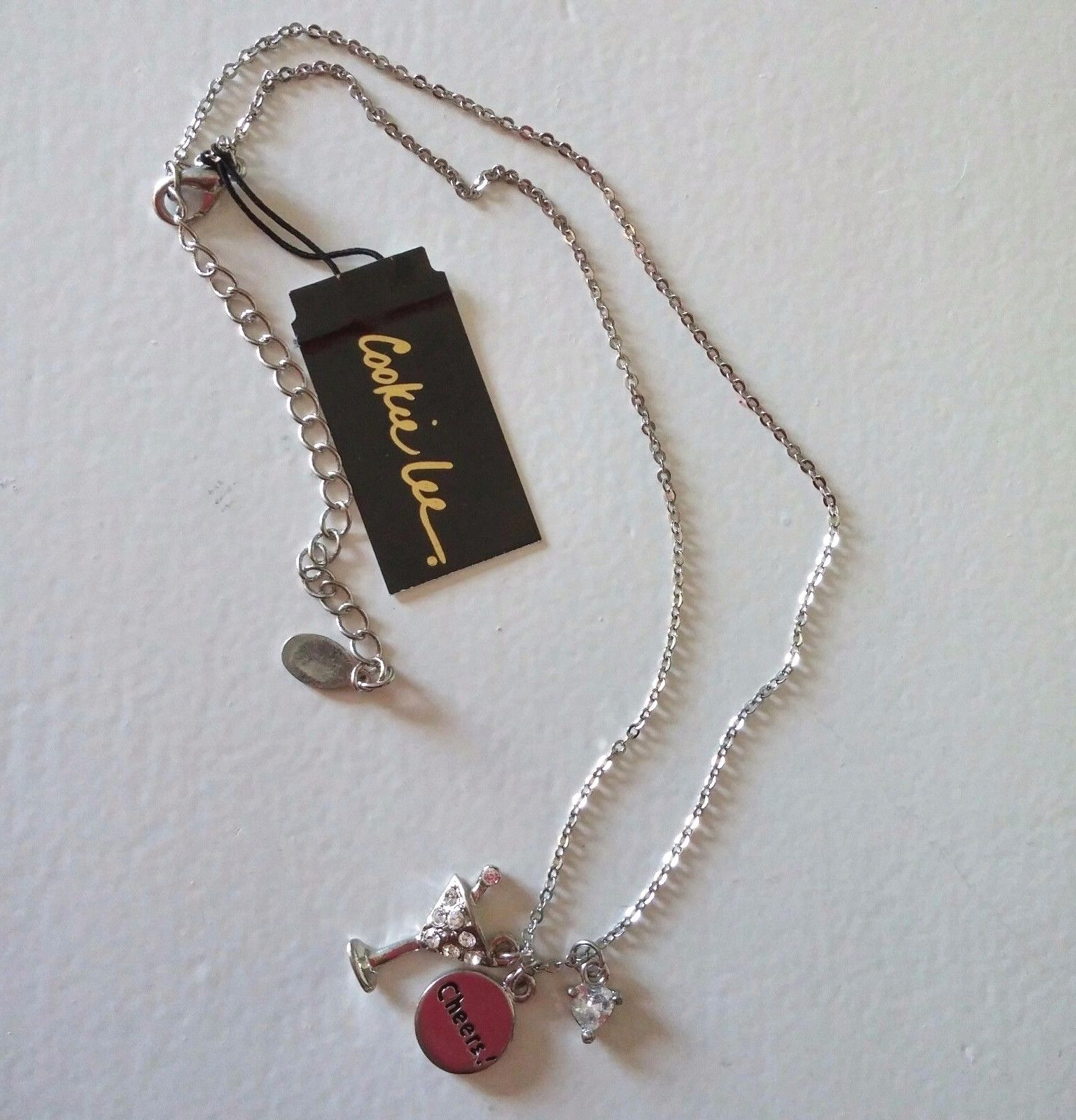 """Cookie Lee Necklace Genuine Crystal CZ Pendant Martini Cheers Charms 18"""""""