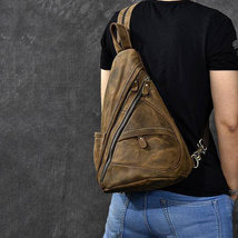 Sale, Horse Leather Men Chest Bag, Vintage Chest Pack Backpack image 2