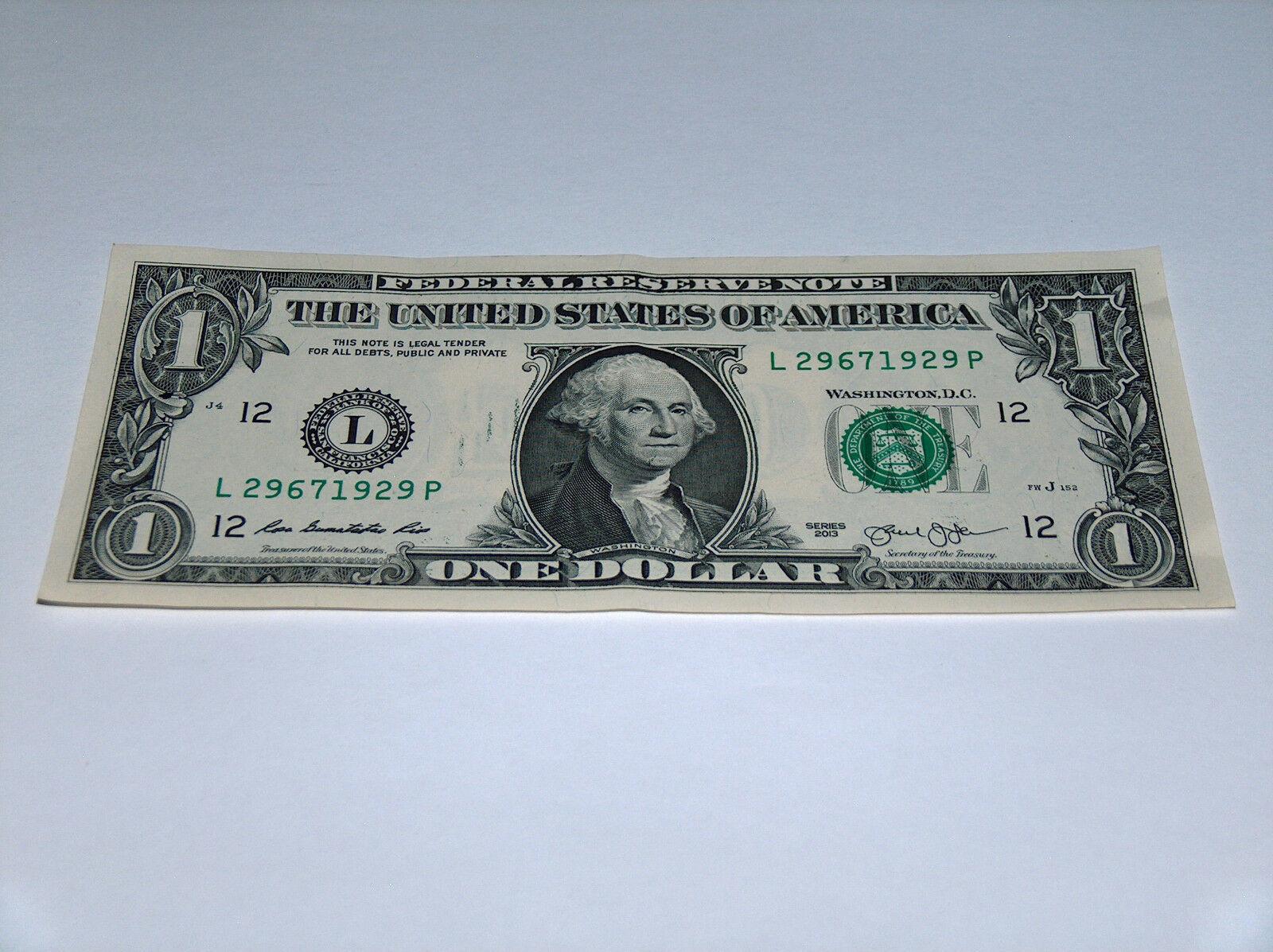 2013 Dollar Bill US Bank Note Year Date Birthday 2967 1929 Fancy Money Serial