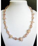 "17 1/2"" genuine pearl, swarovski crystals, & champagne artglass bead nec... - $65.00"