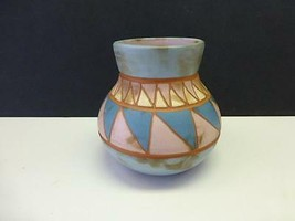 1990 M SAVAGE Signed Native American Indian Hand Etched Pottery Vase - $29.99