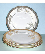 """Wedgwood Vera Wang Lace Gold Floral 4 PC. Salad Dessert Plate Set 8"""" New - $128.90"""