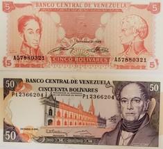 2 Notes from Banco Central De Venezuela Uncirculated: 5 & 50 Bolivares - $4.95