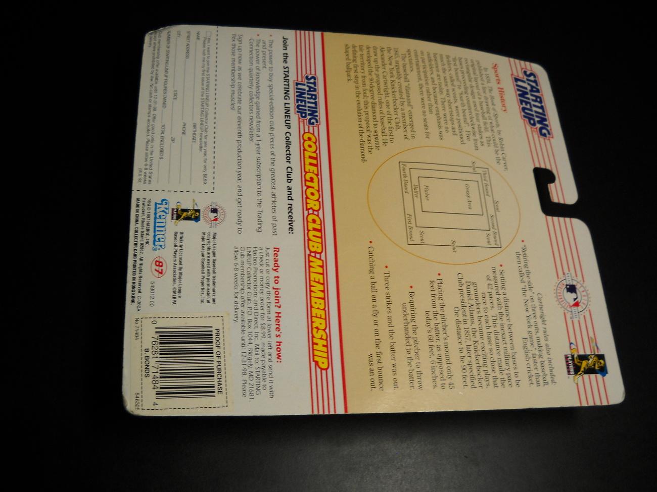 Starting LineUp 1998 Edition Barry Bonds Baseball Sealed on Card Kenner MLB