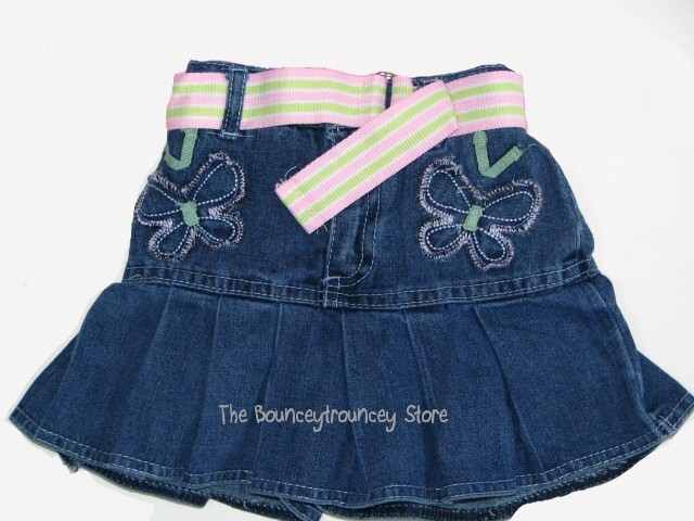 NWT Pink Butterfly Denim Skirt Top 2 Pc Set Outfit 2T