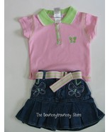 NWT Pink Butterfly Denim Skirt Top 2 Pc Set Outfit 2T - $10.99